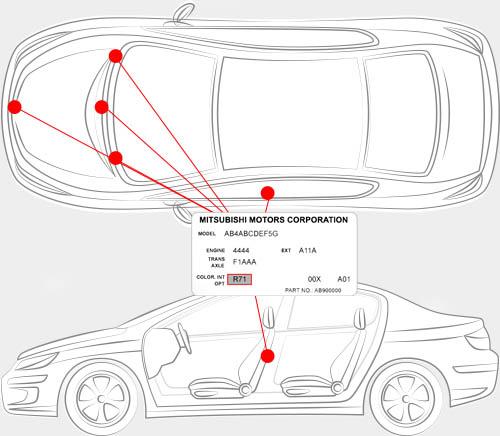 Mitsubishi Paint Code Locator