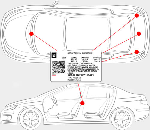 Oldsmobile Paint Code Locator